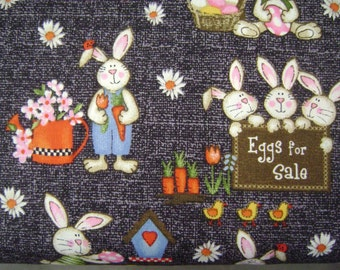 Bunny Farm Black Cotton Fabric sold by the yard
