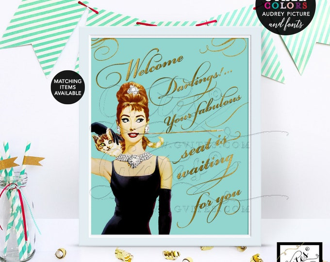 Audrey Hepburn welcome darlings sign poster, wall art, decorations, blue and gold party signs, printable, breakfast at 8x10. CUSTOMIZABLE