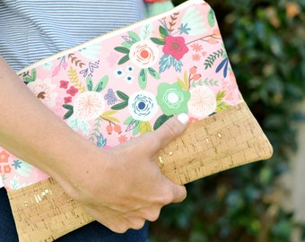 Cork Clutch Purse, Vegan Clutch Bag, Eco Friendly Purse, Pink Floral Clutch, Pink Handbag, Date Night Clutch Spring Accessory Preppy Clutch