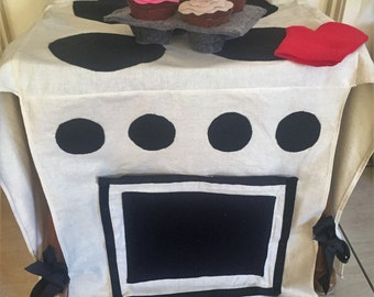 Play Oven Chair Cover. handmade kids stove, fold away kitchen, kids pretend oven, kids kitchen, chair kitchen, over chair oven