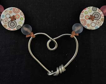 Heart Pendant and Buttons Necklace