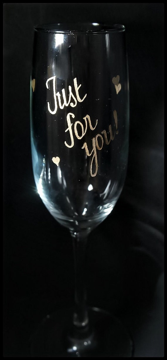 Handengraved Personalized Champagne Flutes, Your choice of words up to 3 for 18.99