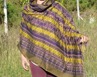 Colorful Shawl, Handwoven Shawl, Handwoven Wrap, Handwoven Scarf, Shawl, Scarf, Wrap, Weaving, Ikat pattern fabric