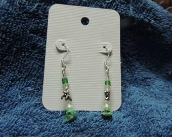 Earrings -- dragonfly. green