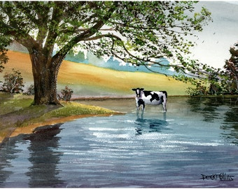 Cow Painting Watercolor landscape Painting  PRINT  trees lake river farm animals art reproduction americana  Giclee