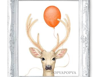 DEER ART Print, Deer Nursery Print, Deer PRINT, Balloon Print, Deer Decor, Deer Wall Art, Deer Wall Decor, Baby Deer Poster Nursery Artwork