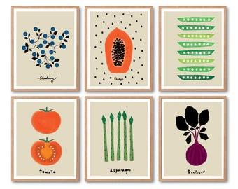 Vegetable Print Set, Kitchen wall decor, Fruits print set, Kids room decor, Kitchen Art decor, Tomato art print, Papaya, Peas, Beetroot