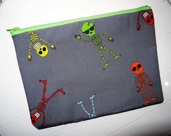 Halloween Pouch Makeup Organizer with skeletons