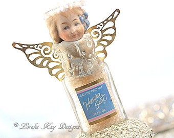 Heaven Sent Angel Art Doll  Perfume Bottle Miniature One-of-a-Kind Doll Lorelie Kay Original Assemblage Art Doll