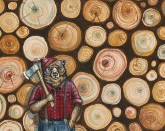 Lumberbear art, Bear painting print, Lumberjack illustration, bear print animal print, wall art, grizzly bear illustration, kids bedroom art