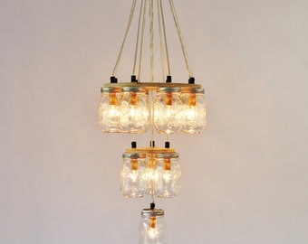 Mason Jar Chandelier, Large 3 Tier Mason Jar Lighting Fixture, 12 Clear Jars, Rustic BootsNGus Mason Jar Pendant Lighting, Bulbs Included