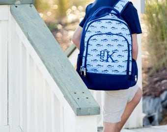 Blue Fish Monogram Backpack   Monogram Book Bag    Book Carrier   Campus Must Have   Back to School   Birthday Gift   Boy's Book Bag