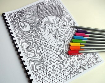PDF Coloring Book, Zentangle Inspired Printable, INSTANT DOWNLOAD, 12 Coloring Pages- Zendoodles to Color