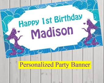 """18""""x30"""" Under the Sea Mermaid Party Personalized Party Banner   Under the Sea Party Decoration   1st Birthday"""