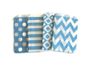 Sky Blue Party Favor Bags | Sky Blue Treat Bags | Sky Blue Candy Buffet Bags | Candy Bags | Popcorn Bags | Light Blue Party Favor Bags
