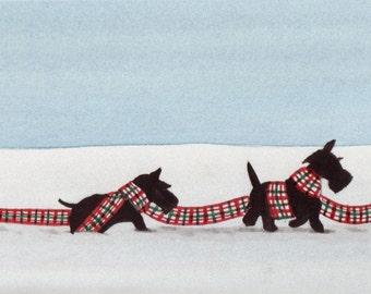 Troop of Scottish terriers (scotties) in the snow / Lynch signed folk art print