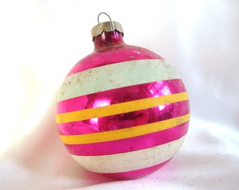 Shiny Brite Ornament - Large Hot Pink with Aqua and Yellow Stripes Christmas Ornament