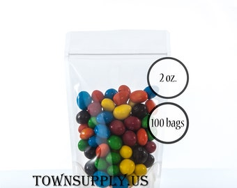 100 - 2 oz clear poly stand up pouches, see through packaging, food grade bags, small product package, resealable zipper, DIY party favors