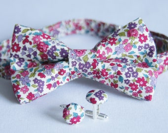 Bow tie set + Pink/Purple floral cuff links