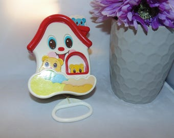Vintage 1986 Sankyo Musical Action Baby Toy by Battat Pop Goes The Weasel
