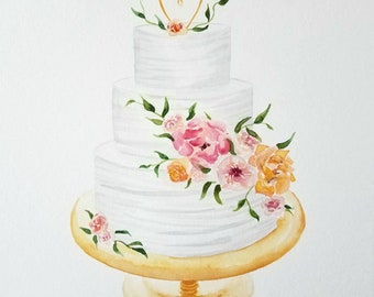 Custom Wedding Anniversary Cake Watercolor Painting
