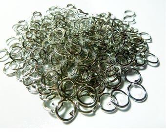 100 jump rings 6mm metal antiqued silver tone (ref SFAN02)