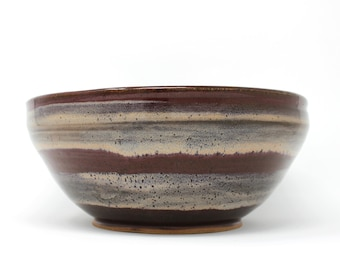 "Wheelthrown serving bowl | 9"" stoneware serving bowl"