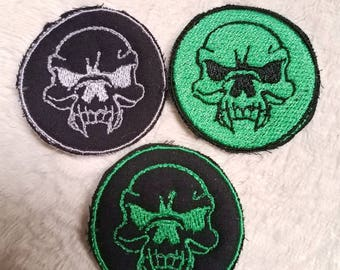 Skull Patch, green and black,  grey and black