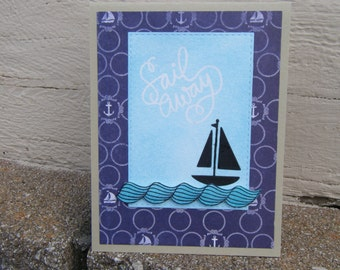 Sailing Card, Everyday Card, Friendship Card, Valentine Card, Handmade card with Boat, Sailing Greeting Card, Handmade Card