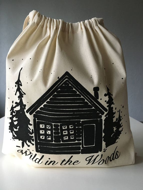 Hand Printed Cotton Drawstring Project Bag- Wild in the Woods