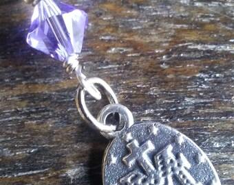 Miraculous Medal with Violet Swarovski Crystal