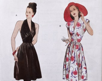 Retro Butterick B5209 Sewing Pattern Vintage 1940's Reproduction Halter of Cap Sleeve Dress Gathered Skirt UNCUT Factory Folds Size 6-12