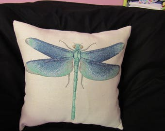Blue Dragonfly Woven Design Decorator Pillow Cover
