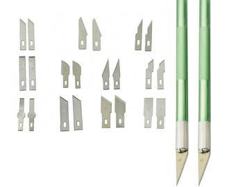2 Handles 24 Blades Craft Razor Knife Kit - Hobby Knife - Precision Razor - Photo & Film Knife - Modeling Vinyl Miniatures - Fit X-ACTO