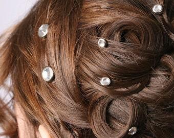 10 Crystal Hair Snaps - Round Silver Rim Edition -- Made with Swarovski Crystal Element Rhinestones