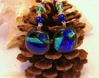 Midnight Colors Fused Glass Earrings