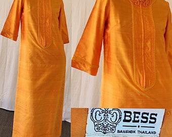 Thai Silk Dress Vintage 60s Thai Silk Tangerine Cheongsam Party Dress