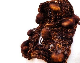 Hand Knit Scarf Hand Spun Yarn Brown Woman's Bobble Scarf