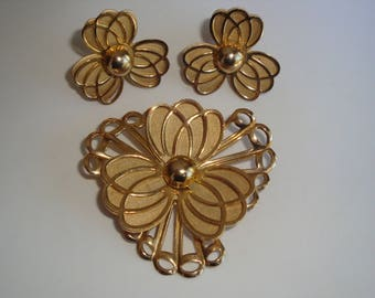 Gold Tone Layered Flower Brooch and Matching Earrings