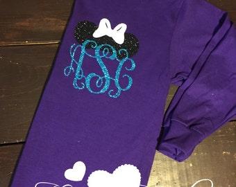 Minnie Disney Tank - Minnie Ears Monogram - Purple and Aqua - Glitter Vinyl - Disney Monogram Tank - Disney Shirt