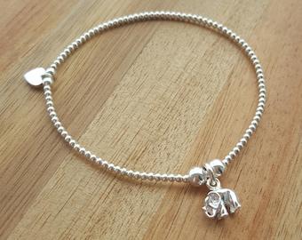 Sterling Silver Bead Bracelet, Stretch Bracelet, Stacking Bracelet, Beaded Bracelet, Sterling Silver, Elephant Charm, Gift For Her