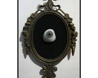 Real Glass Eyeball mounted to Antique Gold Frame