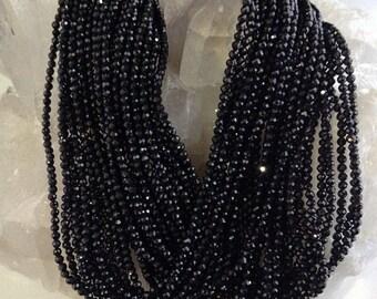 50% Mega Sale 5 Strands Black Spinel Faceted Rondelle Beads (2mm)