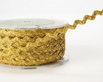 Ric Rac Ribbon - Metalic Gold - 1/4 inch  - You Choose Yards