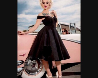 Sale! Custom Made Black 50s Rockabilly Swing Dress, Casual Stretch Knit, The Cheri Retro Pinup Mod Multiway Dress, Handmade in the USA