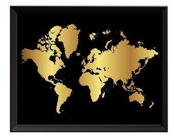 Black and gold globe etsy world map print black shinny metallic gold leaf look world map poster print globe modern abstract gumiabroncs Choice Image