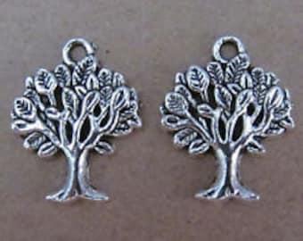 Tibetan tree charm 10 pcs charm tree  silver tree charm