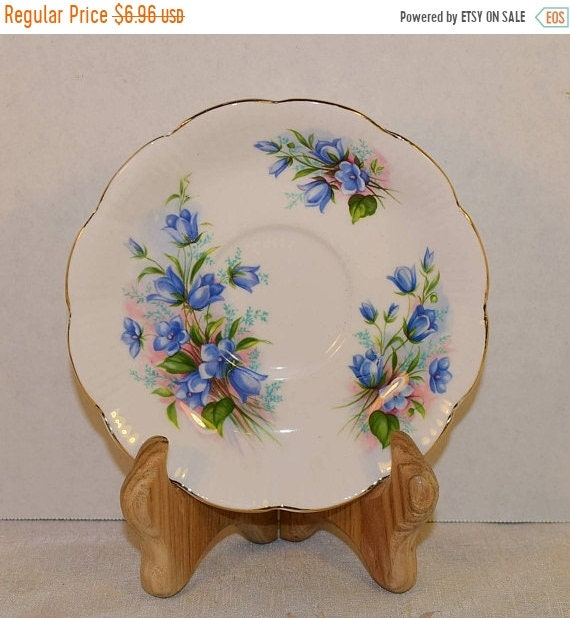 Delayed Shipping Royal Albert Blue Floral Saucer Vintage English Bone China Saucer Gold Rim Scalloped Plate Made in England Gift for Her Mot