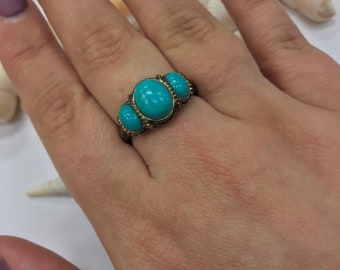 Vintage 925 Silver Turquoise 3 stone ring L302