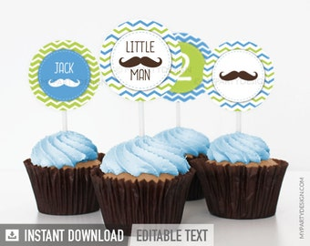 Mustache / Little Man Birthday Party - Cupcake Toppers - Blue Green - INSTANT DOWNLOAD - Printable PDF with Editable Text